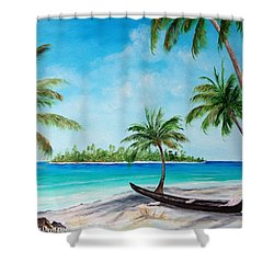 Kayak On The Beach Shower Curtain