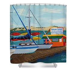 Shower Curtain featuring the painting Kayak Shack Morro Bay California by Katherine Young-Beck