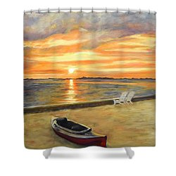 Kayak Sunrise Shower Curtain