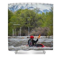 Kayaker On The Arkansas Shower Curtain