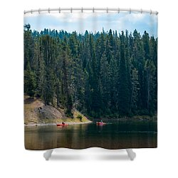 Shower Curtain featuring the photograph Kayakers by Cathy Donohoue