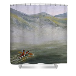 Kayaking Through The Fog Shower Curtain