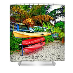 Kayaks In Paradise Shower Curtain by Joan  Minchak