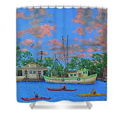 kayaks on the Creek Shower Curtain by Dwain Ray