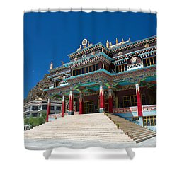 Shower Curtain featuring the photograph Kaza Monastery by Yew Kwang