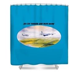 Kc-130 Tanker Aircraft And Pave Hawk With Banner Shower Curtain by Bill Holkham