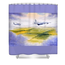 Kc-130 Tanker Aircraft Refueling Pave Hawk Shower Curtain by Bill Holkham