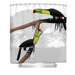 Keel-billed Toucans Shower Curtain