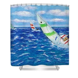 Shower Curtain featuring the painting Keeling by Amelie Simmons