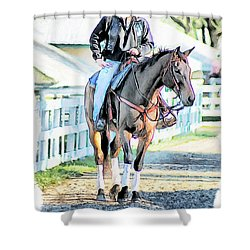 Keeneland Pony Boy Shower Curtain by Tom Schmidt