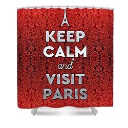 Keep Calm And Visit Paris Opera Garnier Floral Wallpaper Shower Curtain