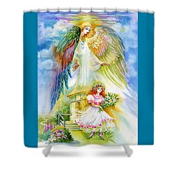 Shower Curtain featuring the pastel Keep Her Safe Lord by Karen Showell