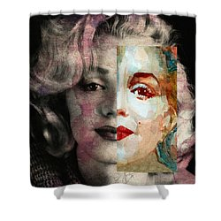 Shower Curtain featuring the painting Keep Me Safe Lie With Me Stay Beside Me Don't Go by Paul Lovering