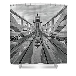 Shower Curtain featuring the photograph Keeper's Walkway At Marshall Point by Rick Berk