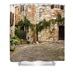 Keeping Montefioralle Clean Shower Curtain by Rae Tucker