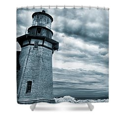 Keeping Watch- Lighthouse Blues Shower Curtain