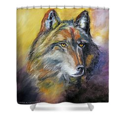 Shower Curtain featuring the painting Kenai Wolf Portrait by Jennifer Godshalk