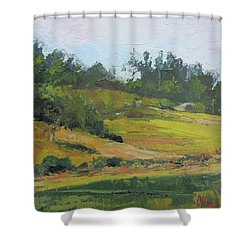 Shower Curtain featuring the painting Kenilworth Hills Queensland Australia by Chris Hobel