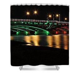 Kenneth F. Burns Memorial Bridge- Christmas Lights Shower Curtain