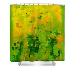 Shower Curtain featuring the painting Kenny's Room by Holly Carmichael