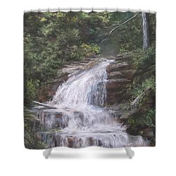 Shower Curtain featuring the pastel Kent Falls by Jack Skinner