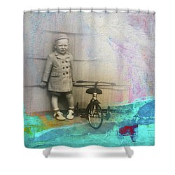 Shower Curtain featuring the mixed media Kent Tricycle by Nancy Merkle