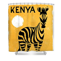Kenya Africa Vintage Travel Poster Restored Shower Curtain