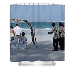 Kenya Wedding On Beach Happy Couple Shower Curtain
