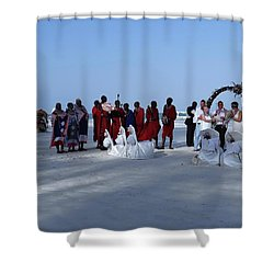 Kenya Wedding On Beach With Maasai Shower Curtain