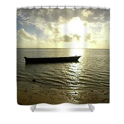 Kenyan Wooden Dhow At Sunrise Shower Curtain