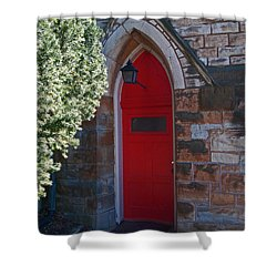 Red Church Door Shower Curtain