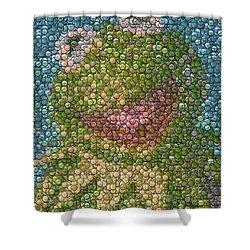 Kermit Mt. Dew Bottle Cap Mosaic Shower Curtain by Paul Van Scott