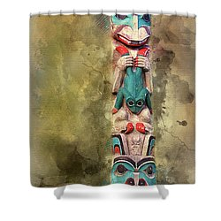 Ketchikan Alaska Totem Pole Shower Curtain by Bellesouth Studio