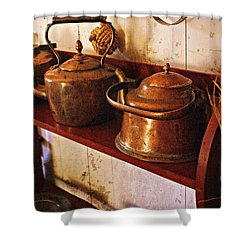 Shower Curtain featuring the photograph Kettles In A Row by Marty Koch