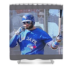 Kevin Pillar At Bat Shower Curtain