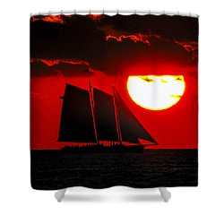 Key West Sunset Sail Silhouette Shower Curtain