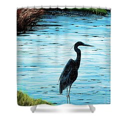 Kiawah Heron Shower Curtain