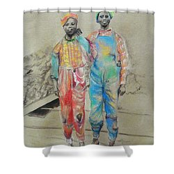 Kickin' It -- Black Children From 1930s Shower Curtain