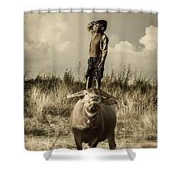 Kid And Cow Shower Curtain