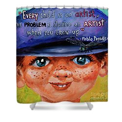 Shower Curtain featuring the painting Kid by Igor Postash