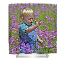 Kid In The Meadow Shower Curtain