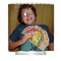 Kid With Money Shower Curtain