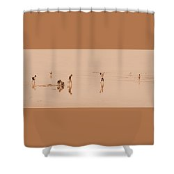 Kids At Play In Sepia Shower Curtain