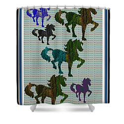 Kids Fun Gallery Horse Prancing Art Made Of Jungle Green Wild Colors Shower Curtain