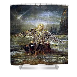 Kids Guiding The Angel Shower Curtain