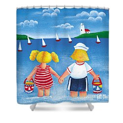 Kids In Door County Shower Curtain