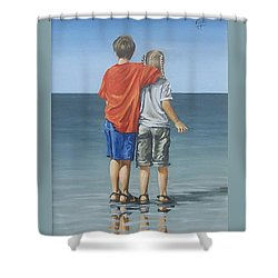 Shower Curtain featuring the painting Kids by Natalia Tejera