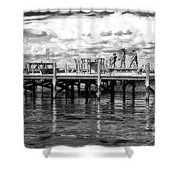 Kids On The Dock Shower Curtain