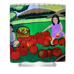 Kids Playing And Picking Apples Shower Curtain by Lorna Maza