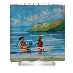 Kids Playing On The Beach Shower Curtain